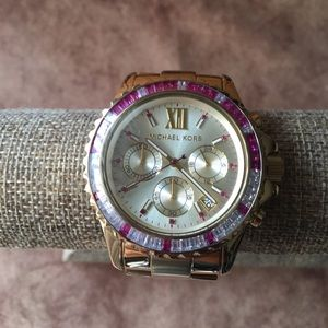 MICHAEL KORS NWOT AUTHENTIC PINK CRYSTALS WATCH